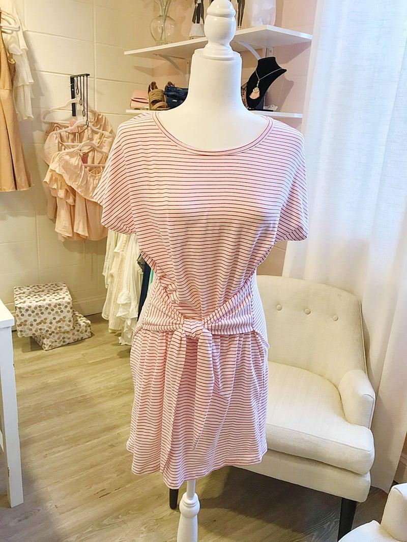 Coral Stripe Bow Dress