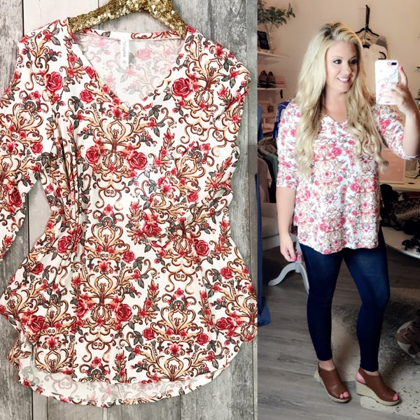 Ivory and Coral Floral Top
