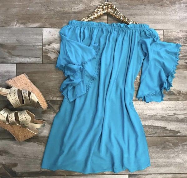 Jade Off Shoulder Dress with Crochet Trim Sleeves