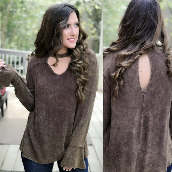 Brown Mineral Wash Top