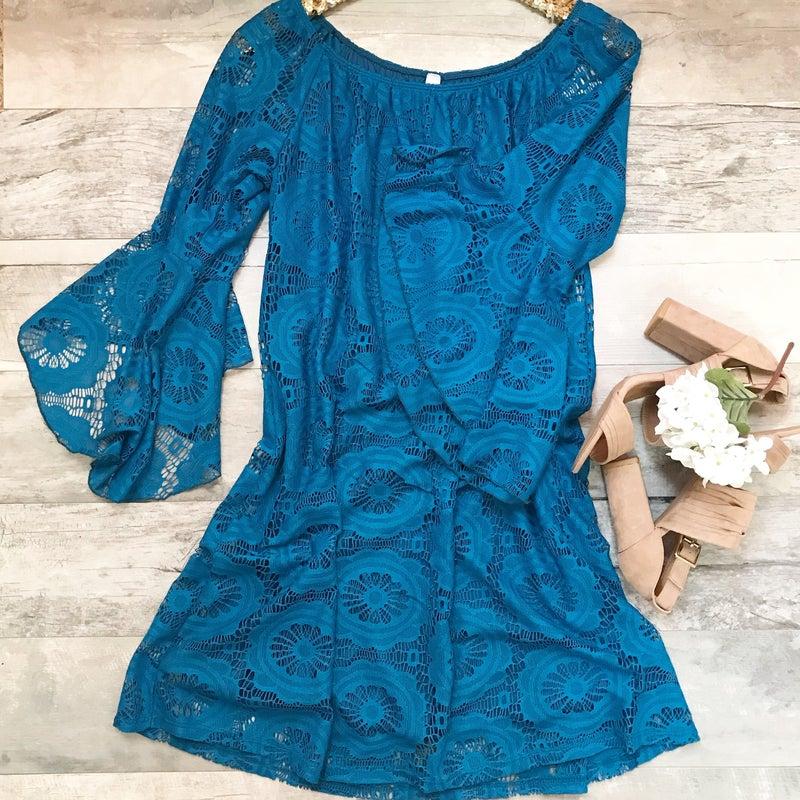 Teal Lace Dress *Final Sale*