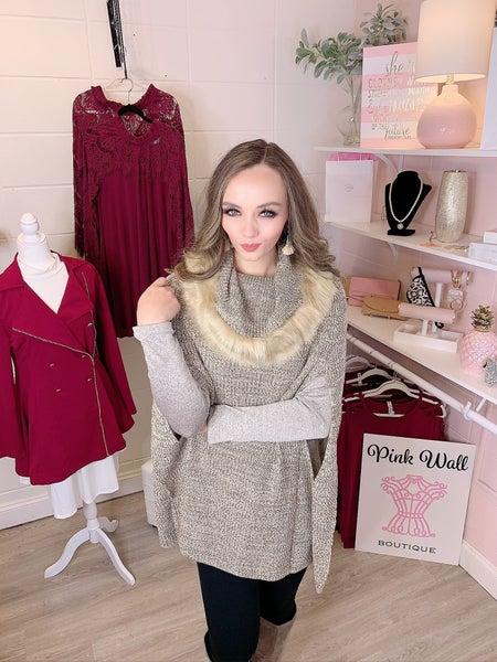 My Best Wish Fur Tunic Sweater Beige