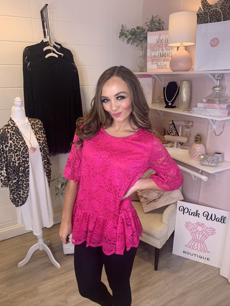 Hot Pink Lace Lined Top