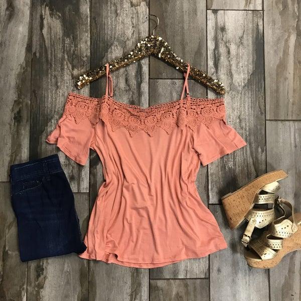 Open Shoulder with Crochet Lace Detail Apricot