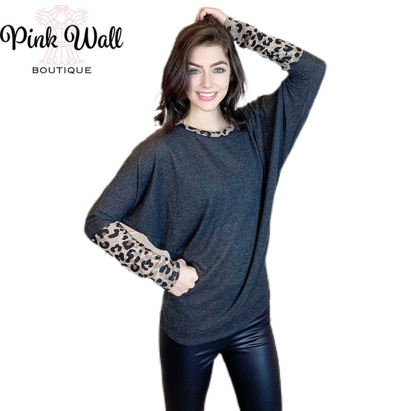 Hang Out With The Best Leopard Charcoal Dolman Top