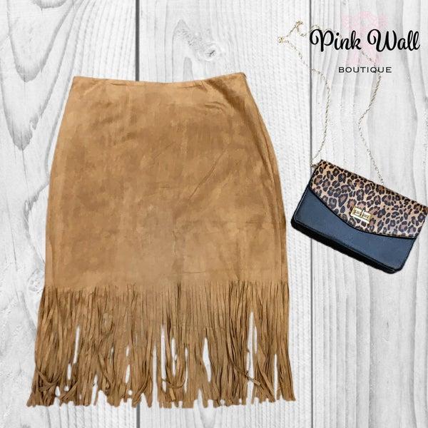 Nashville Night Out Camel Fringe Skirt