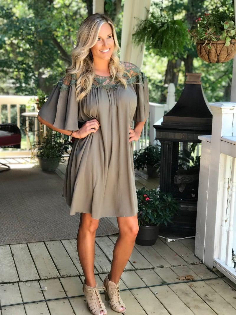 Olive Crochet Dress