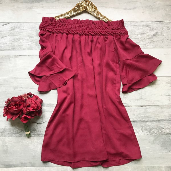 Dark Red Ruffle Off Shoulder Dress
