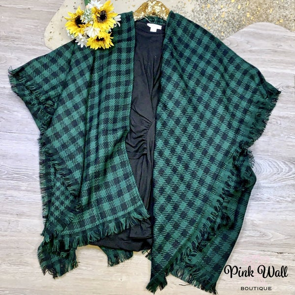 Winter Night Out Plaid Sweater Hunter Green
