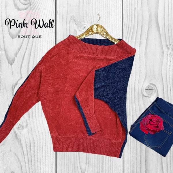 Red Navy Party In The Back Sweater