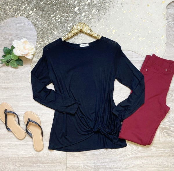 Just Be Beautiful Black Knot Top