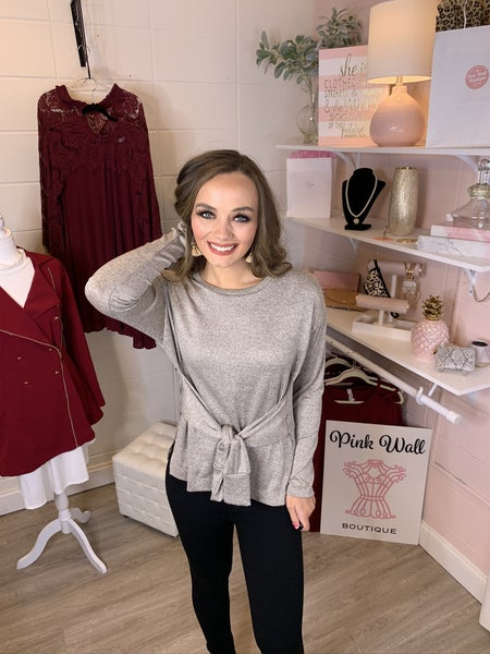 Sand Front Bow Sweater