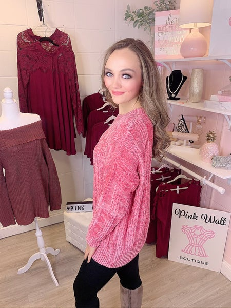 Say You Won't Let Go Chenille Sweater Pink
