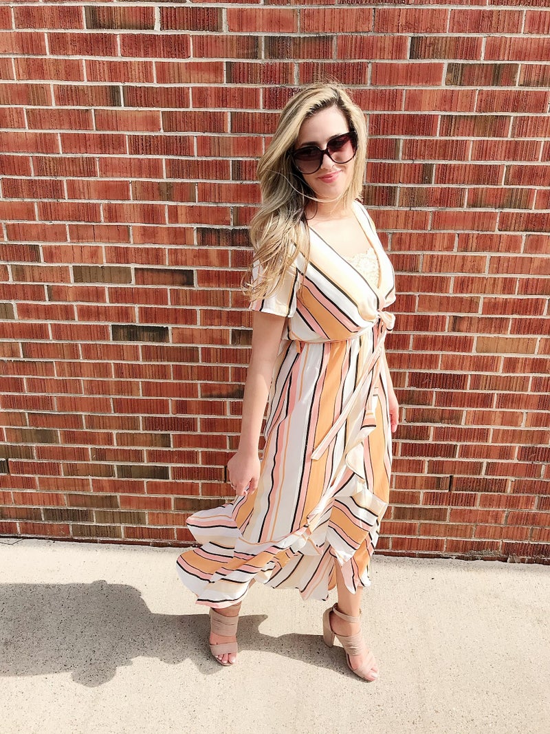 Striped wrap dress with ruffle hem