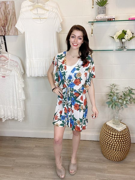 White Floral Front Bow Dress