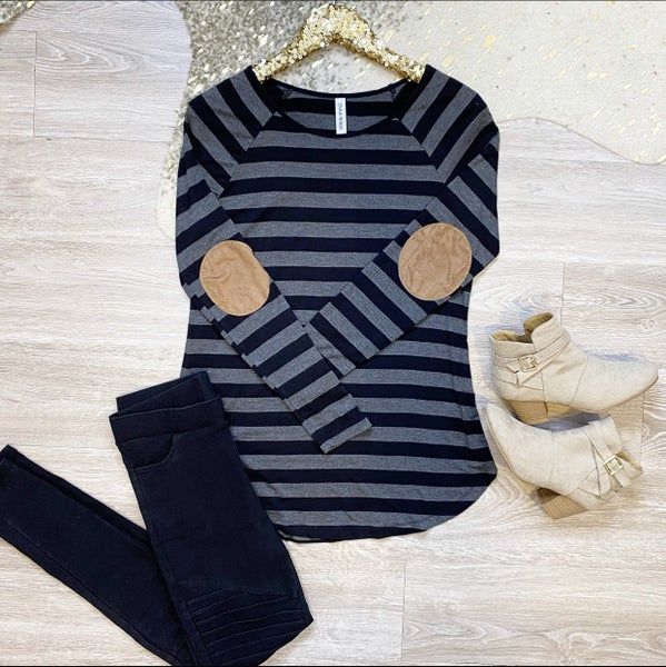 Wishing To See You Striped Elbow Patch Top