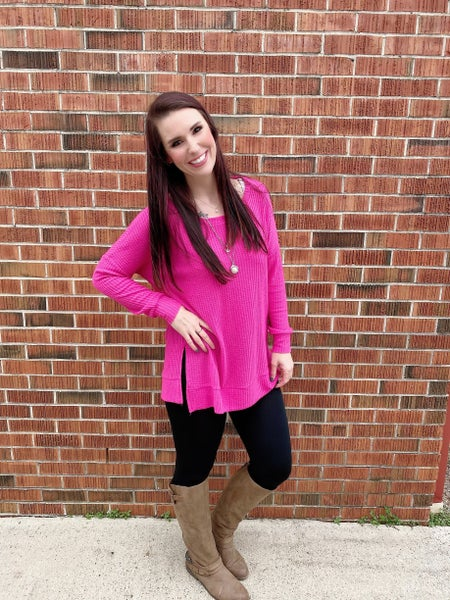 Thermal Waffle High Low Hem Hot Pink *Final Sale*
