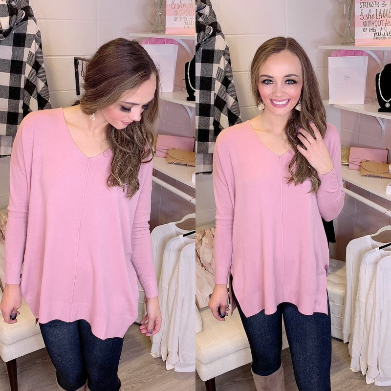 Lead Me To New Adventures Hi-Low Sweater Baby Pink