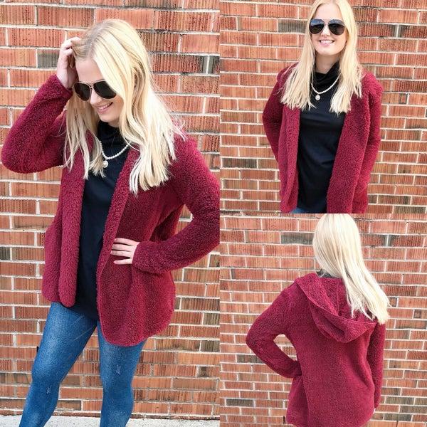 Wine Fur Hooded Jacket