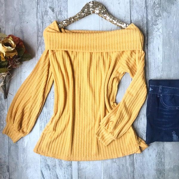 Mustard Off The Shoulder Sweater *Final Sale*