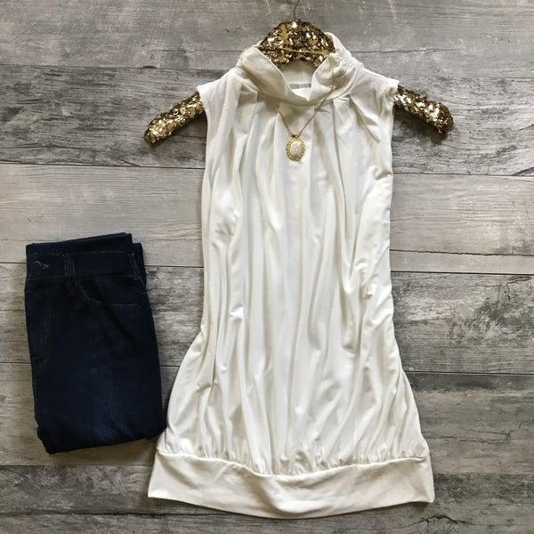 Ivory Sleeveless Bow Tie Top