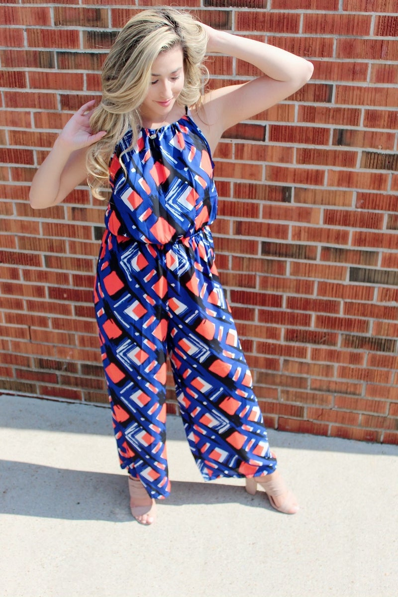 Blue and Coral Jumpsuit