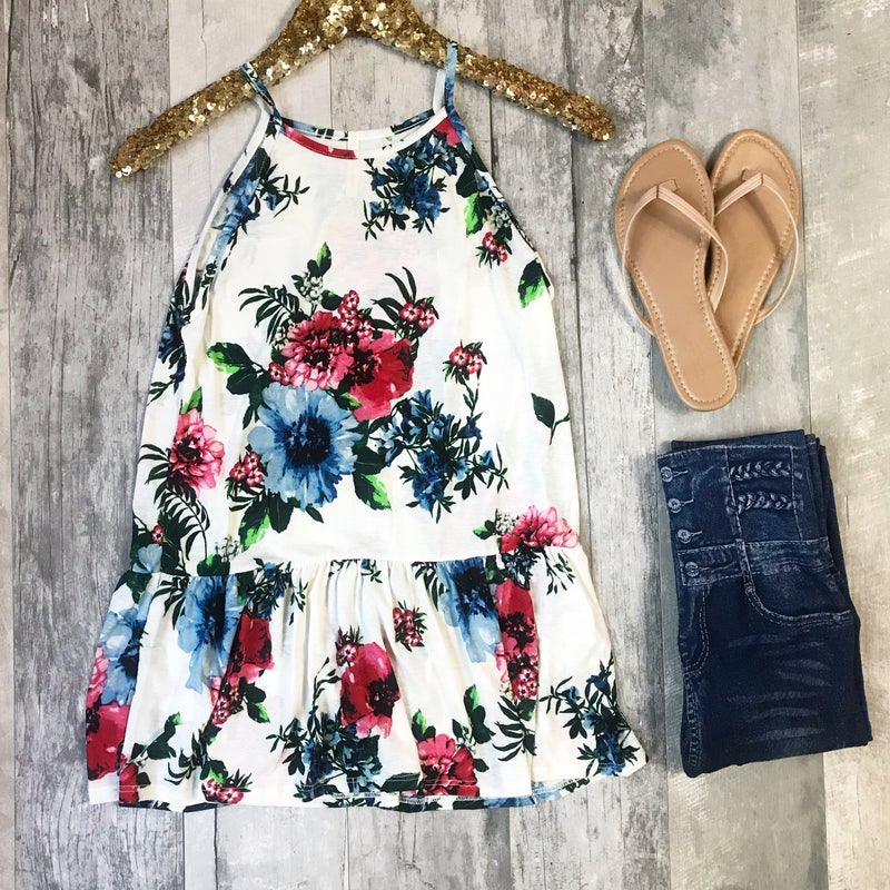 Sleeveless Roundneck Floral Tunic