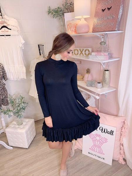 Dance The Night Away Black Ruffle Bottom Dress