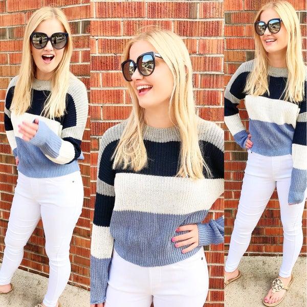 Blue Color Block Sweater *Final Sale*