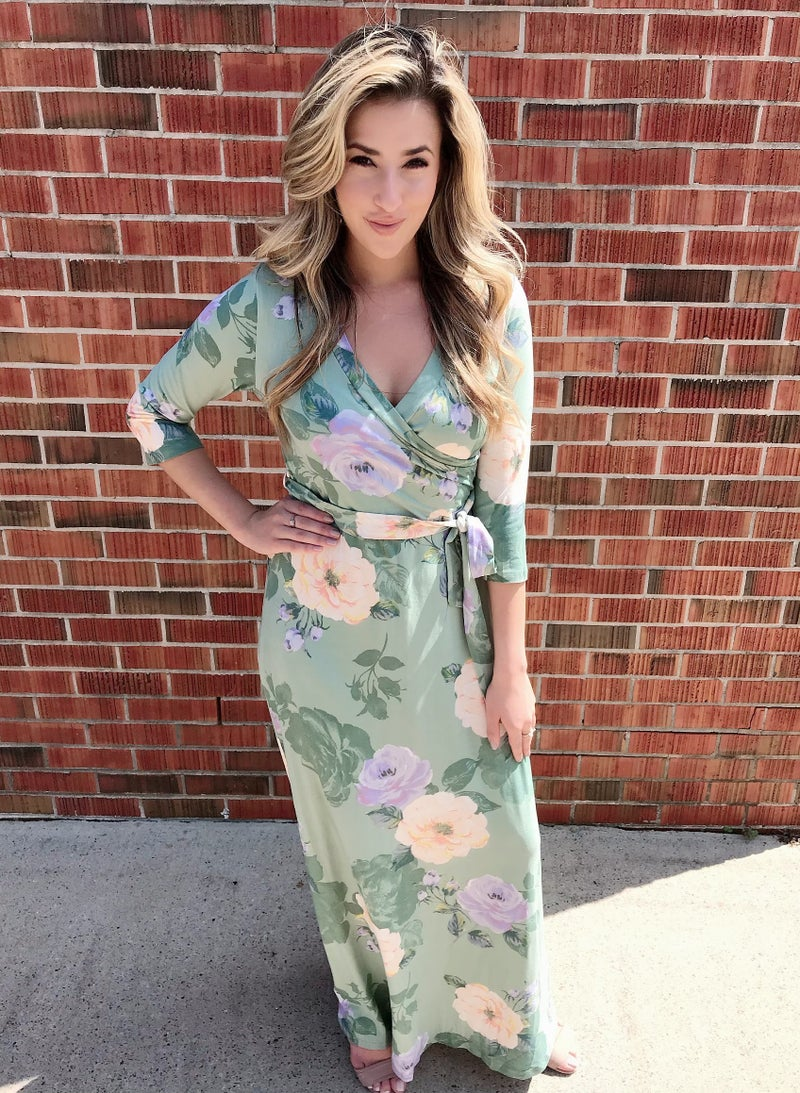 Light Green Floral Maxi Dress with Sleeves