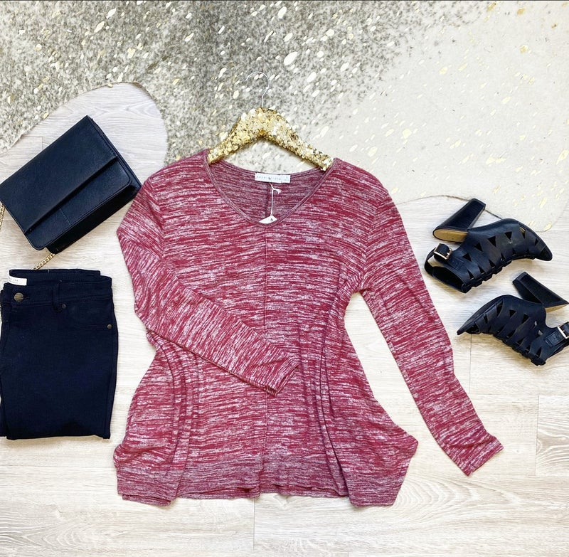Unforgettable Burgundy and Grey Long Sleeve Top