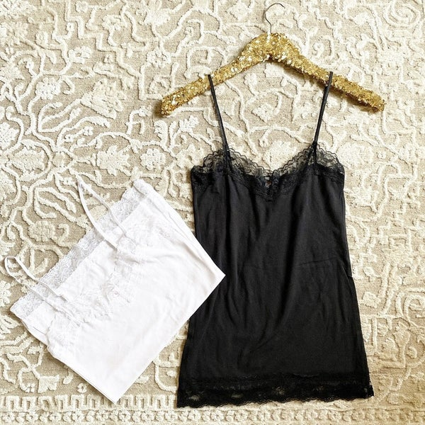 Black and White Lace Trimmed Camis