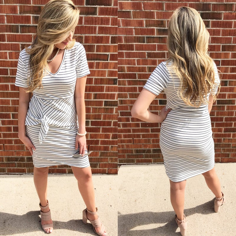Navy and Ivory Stripe  Dress