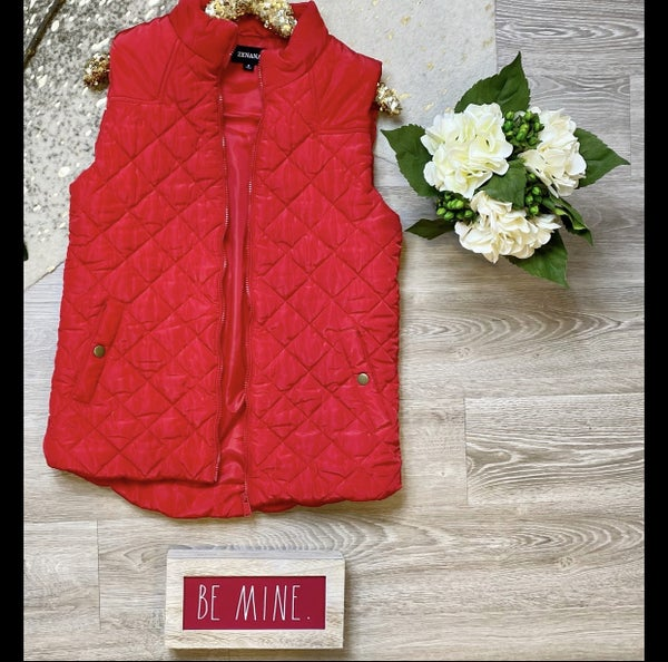 An Extra Layer Quilted Red Vest *Final Sale*
