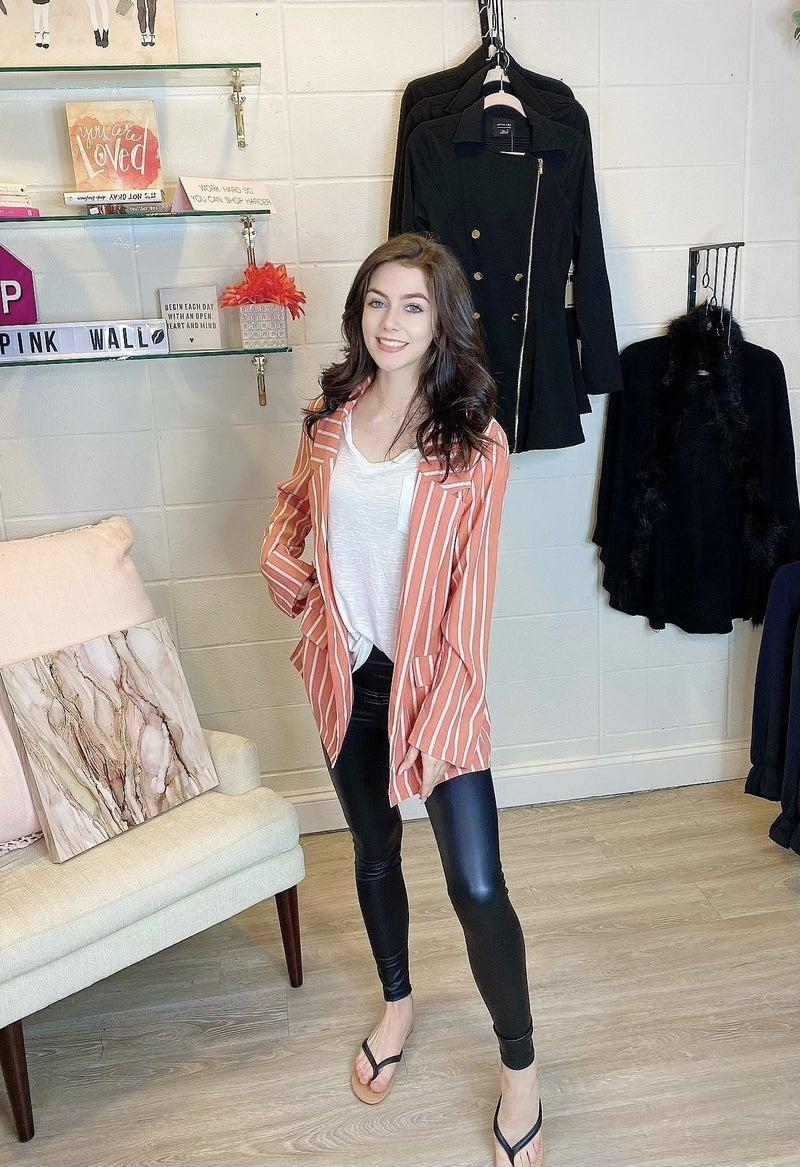 Boss Babe Lover Coral Striped Blazer
