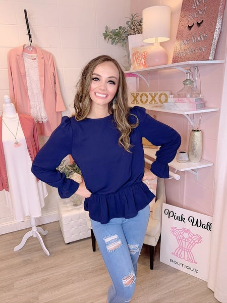 Confidence In You Puff Sleeve Blouse Navy