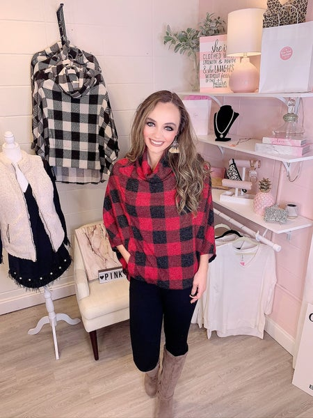 Love Me For Me Black and Red Checkered Sweater