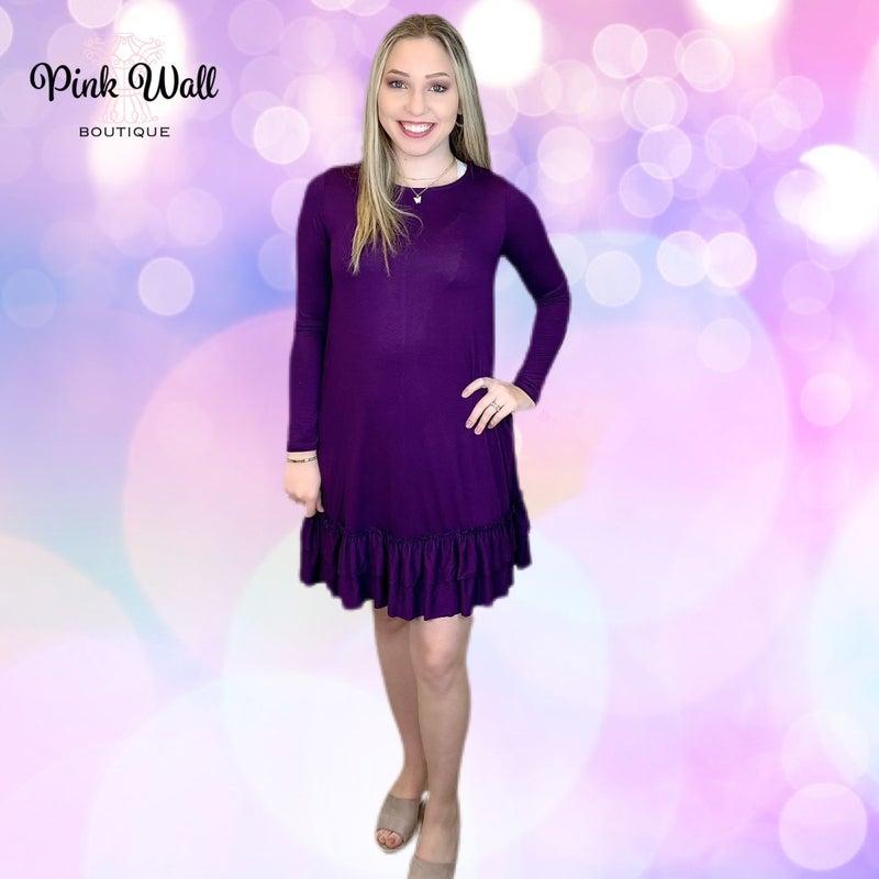 Dance the Night Away Violet Ruffle Bottom Dress