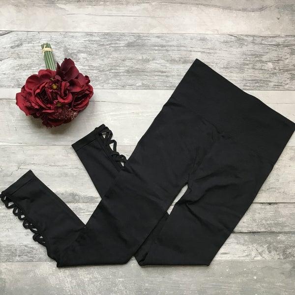 Black Criss Cross Waist Control Leggings
