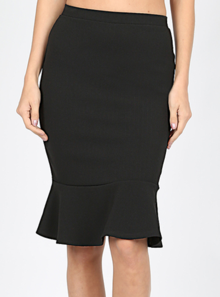 Black Pencil Skirt with Ruffle