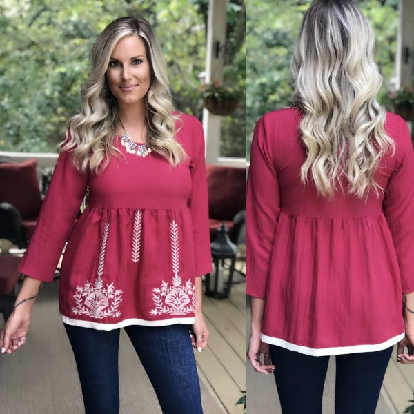 Red Embroidery Top