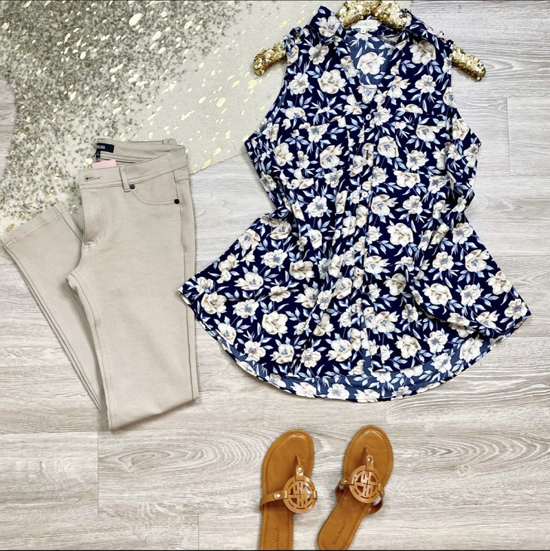 Dream On Navy Floral Tunic