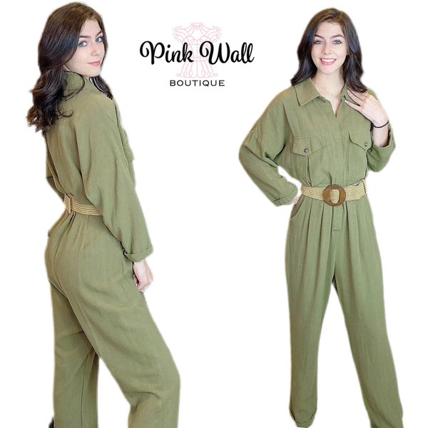 Magnificent Night Olive Belted Jumpsuit