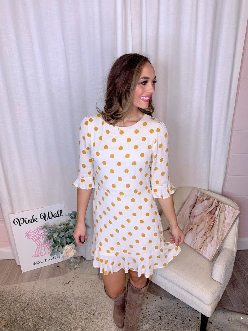 IVory Mustard Polka Dot Dress *Final Sale*