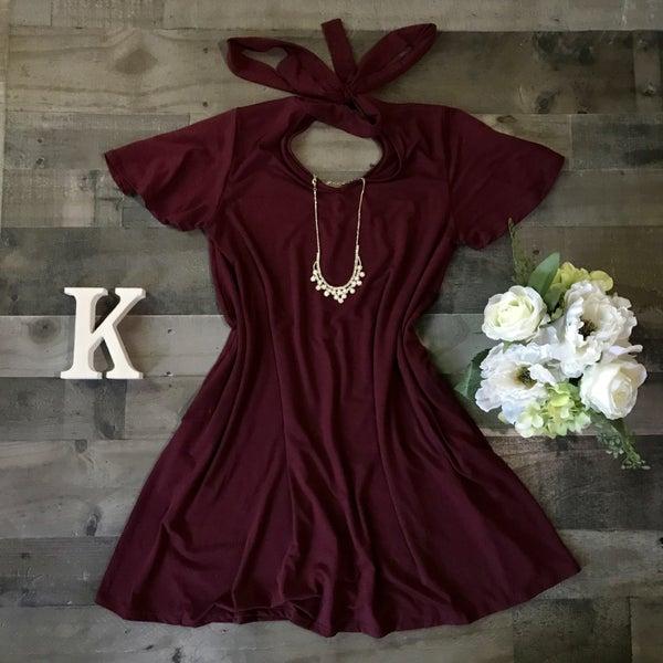 Back Tie Choker Neck Dress Burgundy