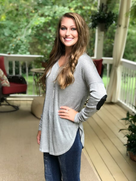 Grey Top with Elbow Patch
