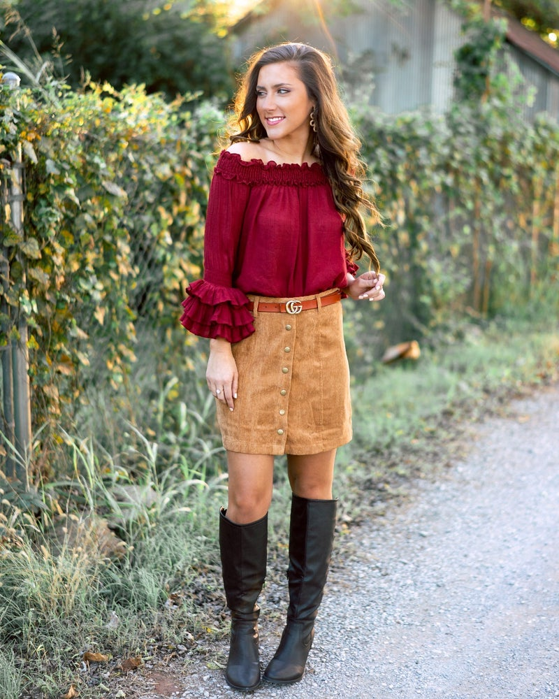 Camel Corduroy Skirt *Final Sale*