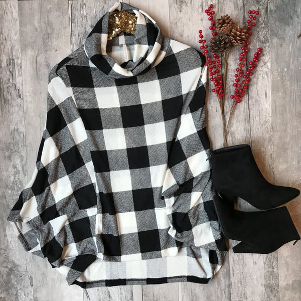 Love Me For Me Black and White Checkered Sweater