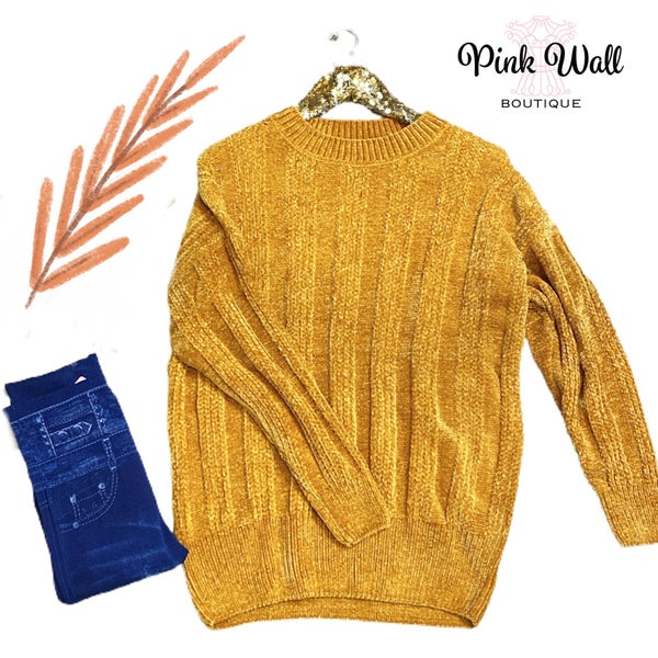 Say You Won't Let Go Chenille Sweater Mustard