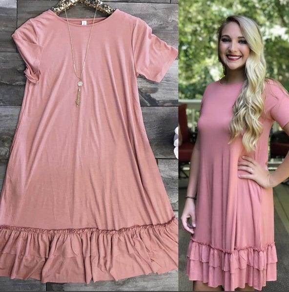 Rose Dress Short Sleeve with Ruffle Bottom